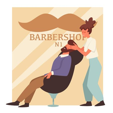 Man with beard in barbershop and woman barber, hairstyle and head massage