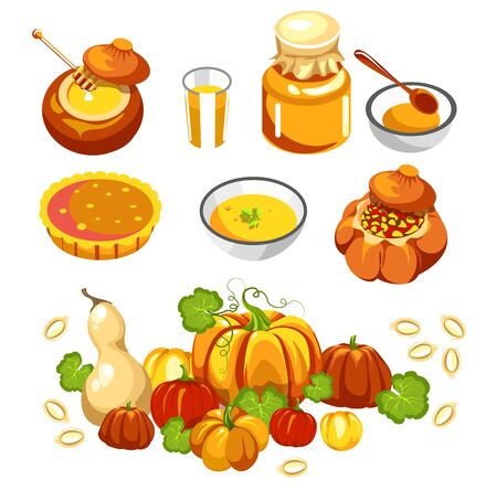Thanksgiving holiday food, pumpkin dishes isolated icons
