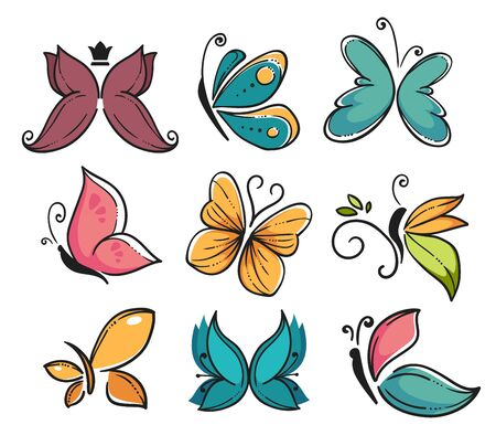Corporate identity, butterflies isolated icons, beauty and freedom