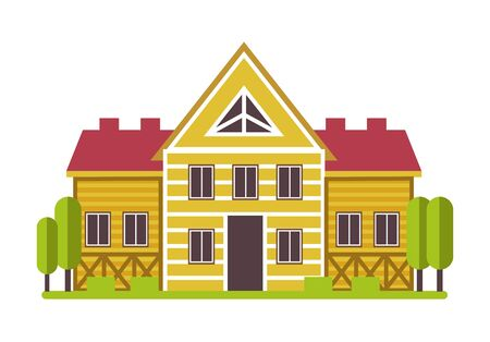 Suburban mansion or countryside private house isolated icon 일러스트