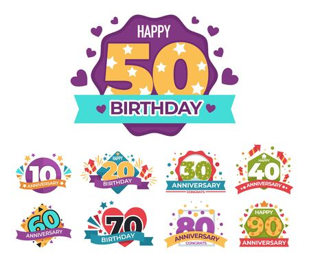 Birthday and anniversary greeting isolated icons, confetti and fireworks Illusztráció
