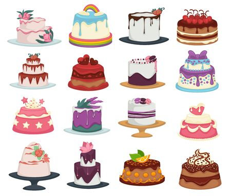 Wedding and birthday cakes isolated dishes, dessert with flowers and fruits Archivio Fotografico - 133437064