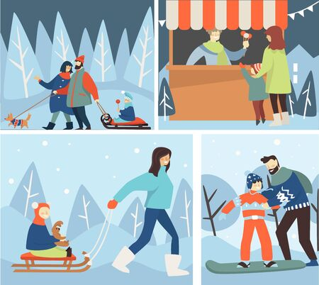 Christmas holidays and wintertime, winter family outdoor activities Ilustrace