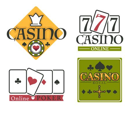 Casino club isolated icons, gambling and poker online
