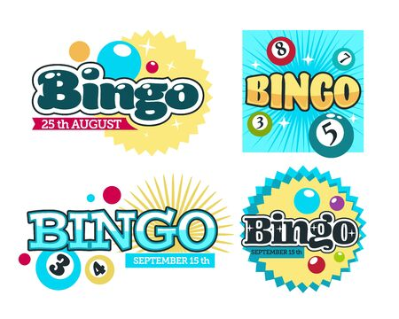 Bingo lottery isolated icons, gambling and guessing game 일러스트