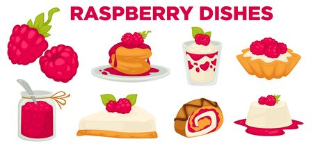 Desserts or raspberry dishes, berry cooking ingredient isolated icons Illustration