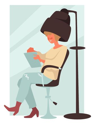 Woman under hair dryer, sitting and reading, isolated character