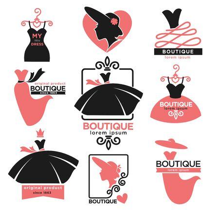 Icone isolate negozio di abbigliamento femminile o boutique di moda Vettoriali