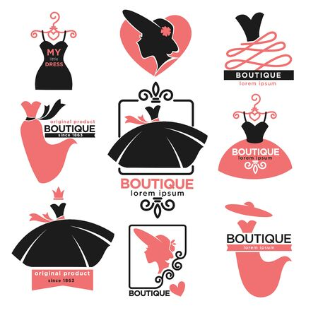 Tienda de ropa femenina o boutique de moda iconos aislados Ilustración de vector