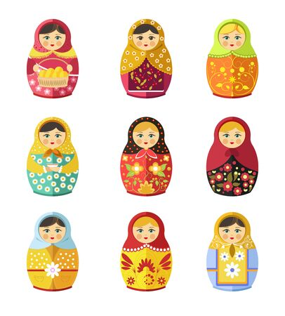 Matryoshka toy, Russian symbol or souvenir isolated icons