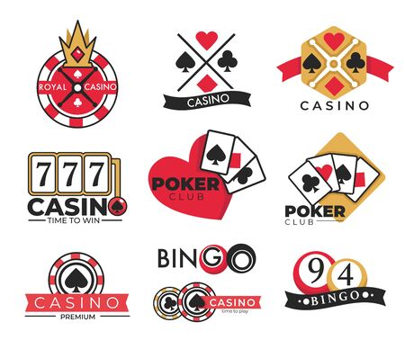 Casino club isolated icons, gambling and bingo lottery