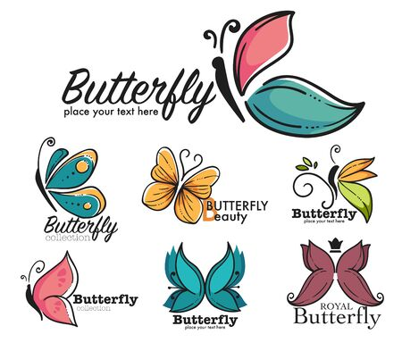 Beauty and fashion, butterfly corporate identity isolated icon