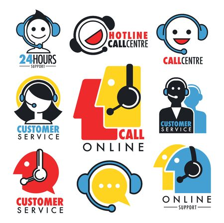 Online support or custom service isolated icons, call center