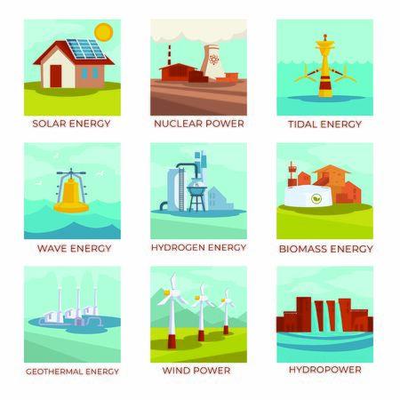 Energiequellen, Kraftwerke und natürliche Ressourcen isolierte Symbole