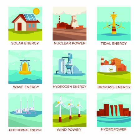 Energy sources, power plants and natural resources isolated icons Illustration