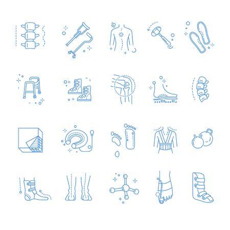 Rehabilitación ortopédica y traumatológica, vector de iconos lineales aislados. Columna vertebral y muletas, escoliosis y martillo médico, plantillas ortopédicas y andador. Botas y articulación de rodilla, fijación de suela y colchón