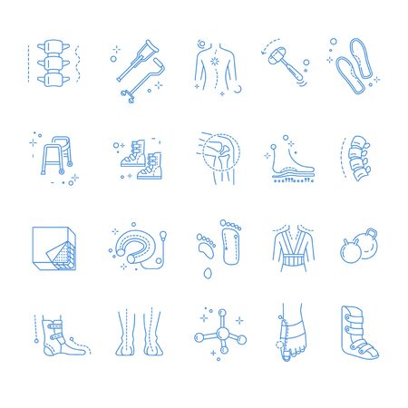 Riabilitazione ortopedica e traumatica, vettore di icone lineari isolate. Colonna vertebrale e stampelle, scoliosi e martello medico, plantari e deambulatori ortopedici. Stivali e articolazione del ginocchio, fissaggio della suola e materasso