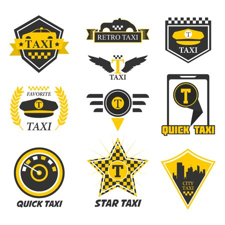 Taxi isolierte Symbole, Fahrermütze und gelbes Taxi, Schachmarkierungsvektor. Transportservice, Callcenter für den Stadtverkehr und Emblem oder Logo der mobilen App. Fahrzeug bestellen, um zum Ort in der Stadt zu fahren Logo