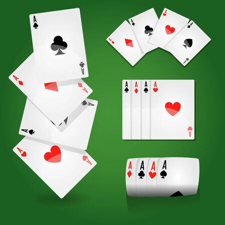 Casino or poker club, play cards aces set, gambling games on green field vector. Blackjack and money stakes or betting and win, paper playing equipment. Clubs and hearts, spades and diamonds suits