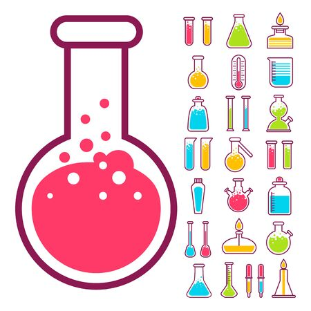 Laboratory equipment, Chemical flasks, chemistry science, isolated icons vector. Beaker, lab glassware, glass items and toxic liquids, reaction and research. Education and knowledge, pharmacology