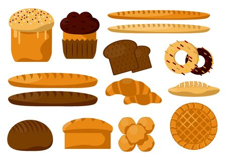 Bread and flour bakery products, pastry food isolated icons vector. Baguette and ciabatta, toast slice and bun, donut and croissant, Easter cake and cupcake. Grocery store, dough snack cooking Archivio Fotografico - 133638390