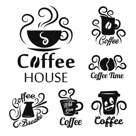 Hot drink, coffee shop or house isolated icons, takeaway cup and turk silhouettes vector. Energetic beverage brewing, cafe or bar and restaurant. Organic beans, steaming dishware, emblem or logo