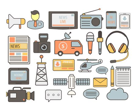 Television news broadcasting and mass media journalism isolated icons vector. Megaphone and journalist, TV screen and radio, mobile devices and newspaper. Camera and van with satellite, microphones