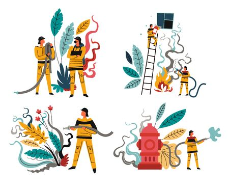 Firefighters with rescue equipment, firefighting emergency, firemen with hose, isolated icons vector. Men in helmet with extinguisher and hydrant or fireplug. Fireman on ladder extinguishing flame Ilustracja