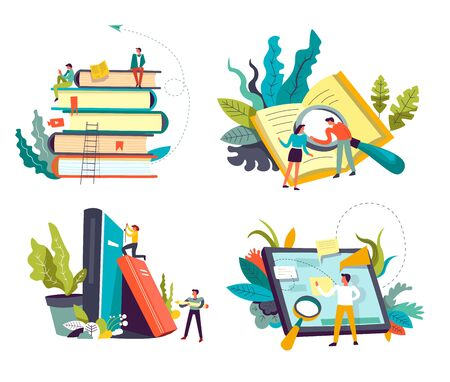 Reading online and library books Internet storage, isolated icons vector. Textbooks volumes and readers, studying and education, literature. Tablet or pad and magnifying glass, students learning