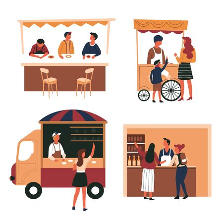Trolley and truck, tent and shop counter, street meals, isolated characters vector. Fast food and drinks, vendor or seller and customer, ice cream cart. Snack on wheels, liquor store and bar stand