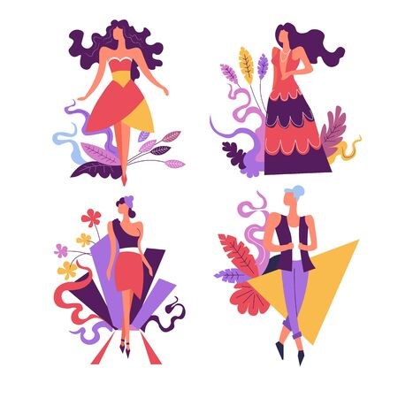 Women in fashion clothes, shopping sale isolated icons vector. Stylish girls in dress and skirt or pants, discount and special offer. Buying clothing, summer or spring outfits on female characters