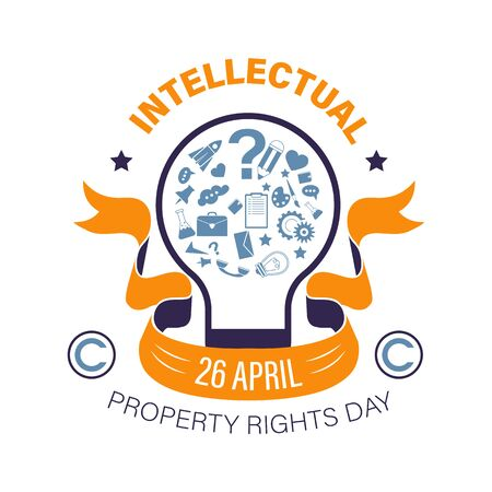 Intellectual property rights day, invention protection and copyright, isolated icon vector. International holiday, light bulb, unique idea patent. Creativity and science, education and knowledge