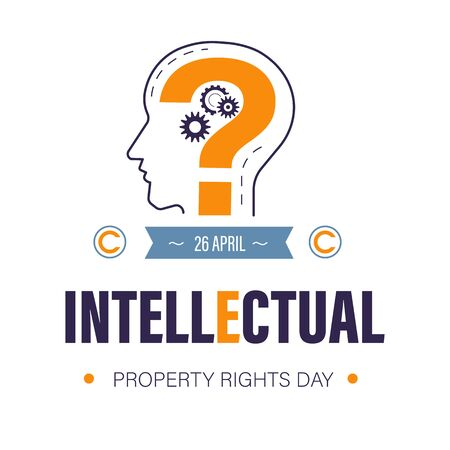 Copyright or intellectual property rights day, invention protection and idea patent, isolated icon vector. Human profile and question mark, cogwheels mechanism. Creative product security awareness Stock Illustratie