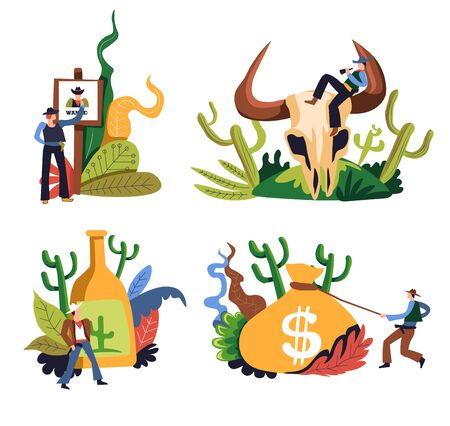 Cowboy isolated icons, western criminal or ranger, rodeo and wild west sheriff in hat vector. Men with gun and lasso rope, bull skull and alcohol drink. Wanted sign and money sack, Texas characters Stock fotó - 133638454
