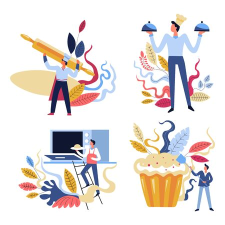 Cooking master classes, home baking, cook and bakery products isolated icons vector. Baker in apron and pastry, dough with rolling pin and clochet trays, microwave oven. Easter cake, food recipes 일러스트