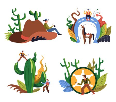 Cowboy isolated icons, western criminal or sheriff in hat, wild west rodeo vector. Men with gun or pistol and lasso rope, horse and horseshoe. Cactus and golden ranger star sign, Texas desert Illusztráció
