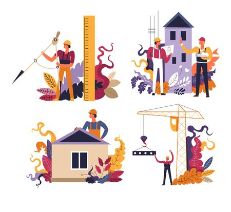 Construction process and building, architectural project isolated icons vector. Divider and ruler, apartment and private houses, industrial crane. Teamwork, industrial engineering, city constructing