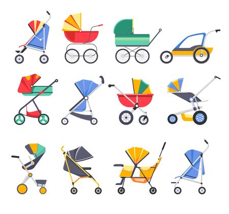 Baby carriage models isolated icons, prams for hot and cold weather vector. Transforming stroller with handle and pocket, child transport, tent or cover and wheels. Fashion design, pushcart for kids