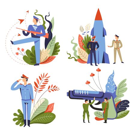 Military service, army recruitment, make peace and country defense, isolated icons vector. Soldiers and navy sailors in uniform, officer or captain, forces servant. Gun and missile, rocket and pistol