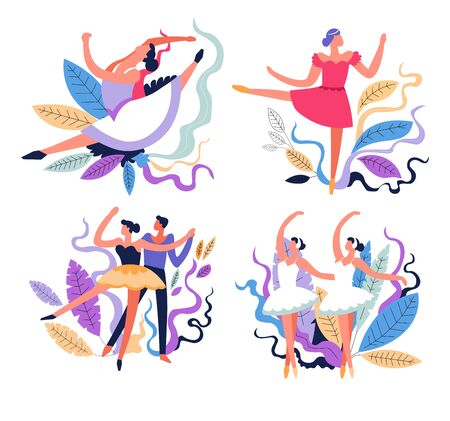 Ballet dancing, dance classes and stage performance isolated icons vector. Girl and guy partners, stretching and tricks, moves and poses. Ballerinas in tutu, man and woman, movement, sport or hobby