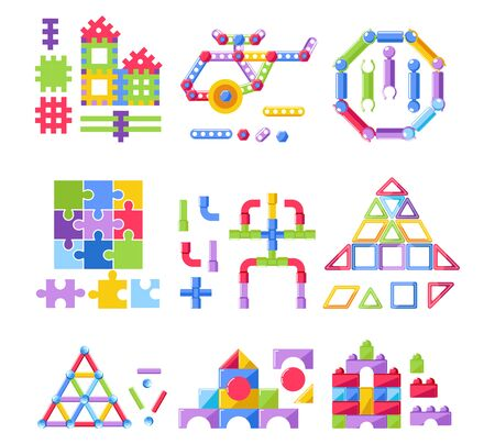 Kid toy, constructor or building kit, plastic stacking blocks isolated icons vector. Creative game for children, modeling, nuts and bolts, construction tools. Puzzle or jigsaw elements, kindergarten
