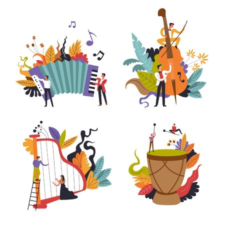 Musicians, classical and folk music, performance isolated icons vector. Harp and violin, harmonic and tomtom drum, musical instruments. Live sound, orchestra show or festival, men and women playing