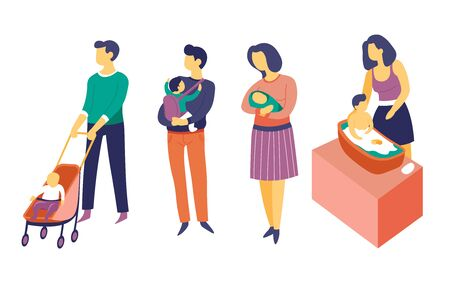 Child care and parenthood, father and mother with baby isolated characters vector. Walking in baby carriage and rocking baby in arms, washing or taking bath. Parenthood, newborn and family couple Illusztráció