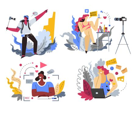 Internet blogger or content maker, web blogging and online streaming, isolated icons vector. Video recording, travel or beauty blog, comments and likes. Camera and light, man and woman influencers