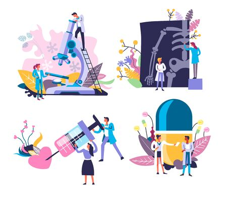 Doctors and medical equipment, medicine isolated icons vector. Biological research with microscope and skeleton X-ray, injection with syringe and pill. Hematology and surgery, immunology and therapy