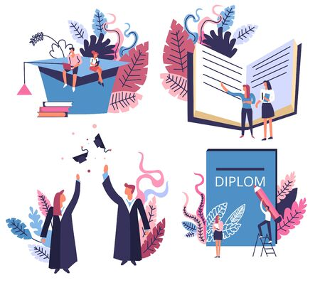 Students and academic hat, school and university graduation isolated icons vector. Education and knowledge, Master or Bachelor degree receiving. reading books and writing diploma, subject learning