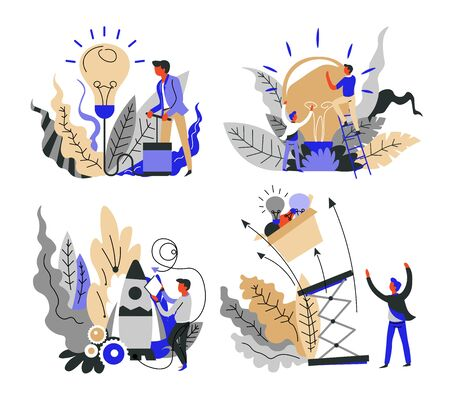 Startup concept isolated icons, idea brainstorming vector. Project launch and rocket or spaceship, office workers, business starting. Light bulb symbol, creative thought, entrepreneurs and teamwork