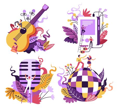Music playing and listening isolated icons, singing and dancing