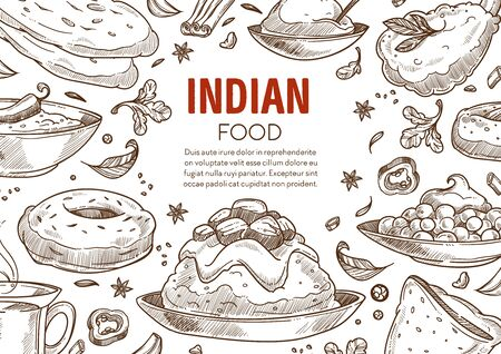 Restaurant menu of Indian cuisine food sketch poster Ilustracja