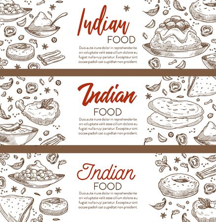 Restaurant menu with Indian food, cuisine of India sketch banners